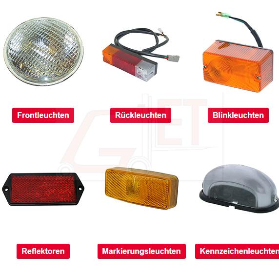 Beleuchtung für Gabelstapler, neben Arbeits- und Rückfahrscheinwerfern sowie Front- und Heckleuchten umfasst unser umfangreiches Programm Kennleuchten, Seitenleuchten und Blinkleuchten.