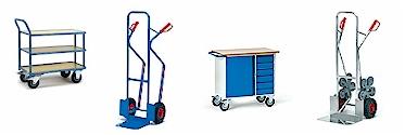 get-ersatzteile.de / Treppenkarren, Paketkarren, Paketroller, Ganzstahlwagen, Alu-Plattformwagen, Kunststoffplattenwagen, Magazinwagen, Tischwagen von Fetra Transportgeräte